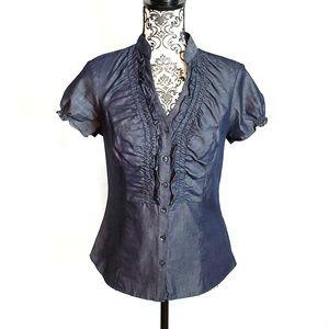 Express Short Sleeve Button Down Shirt w/ Ruffles